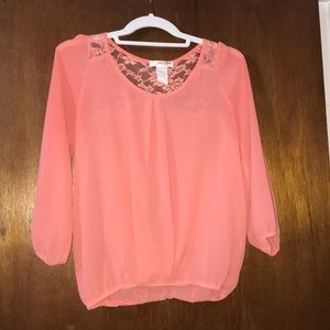Bright orange / coral lace blouse